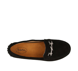 Top down angle of Black Suede loafer featuring suede upper materials and a suede footbed - size 6