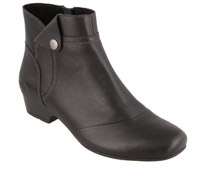 """3/4 Angle of  Oh Snap Black Low heel short leather boot featuring a decorative snap button"