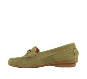Instep angle of Herb Green Suede loafer featuring suede upper materials and a suede footbed - size 6