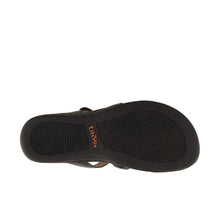 Load image into Gallery viewer, Outsole Angle of Black Slide sandal with three adjustable hook & loop straps  - size 7