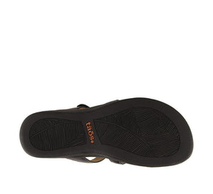 Outsole Angle of Black Slide sandal with three adjustable hook & loop straps  - size 7