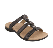 Load image into Gallery viewer, 3/4 Angle of Black Slide sandal with three adjustable hook & loop straps  - size 7