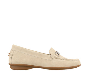 Outside angle of Ice Suede loafer featuring suede upper materials and a suede footbed - size 6