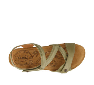 Top down Angle of Herb Green leather adjustable sandal with suede footbed & rubber outsole - size 36
