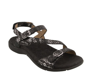 3/4 Angle of Black Snake adjustable sandal with hook & loop straps & decorative buckles - size 6