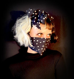 WHITE DOTS All-In-One Scarf / Mask / Hair Bow