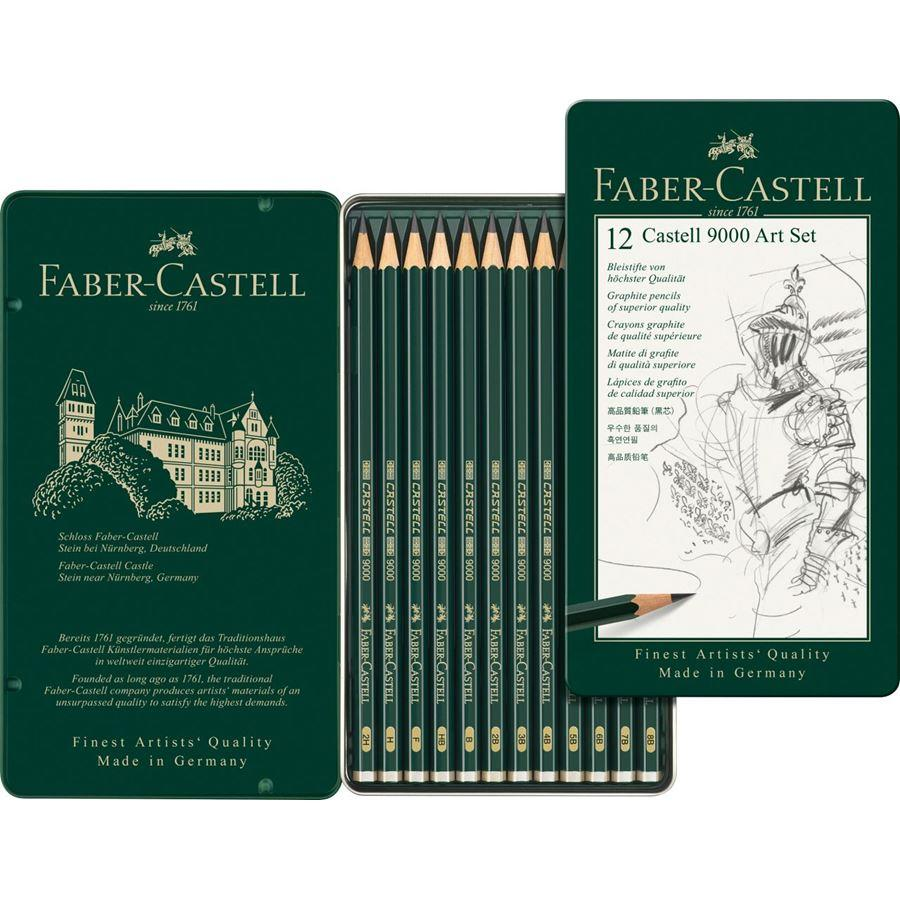 CASTELL 9000 GRAPHITE PENCIL, ART SET, TIN OF 12