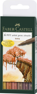 "Faber-Castell Pitt Artist Pen Brush ""Terra"" Wallet of 6 pens"