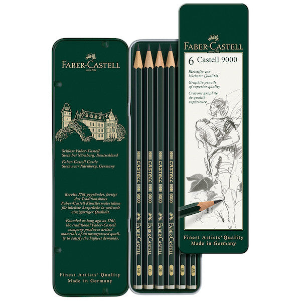 FABER-CASTELL - CASTELL 9000 GRAPHITE PECNCIL, TIN OF 6
