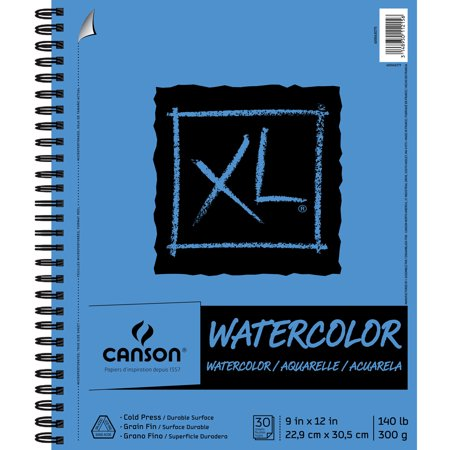"Canson XL Watercolour Pad 9""x 12""- 140lbs.- 30 sheets - Side Wire"