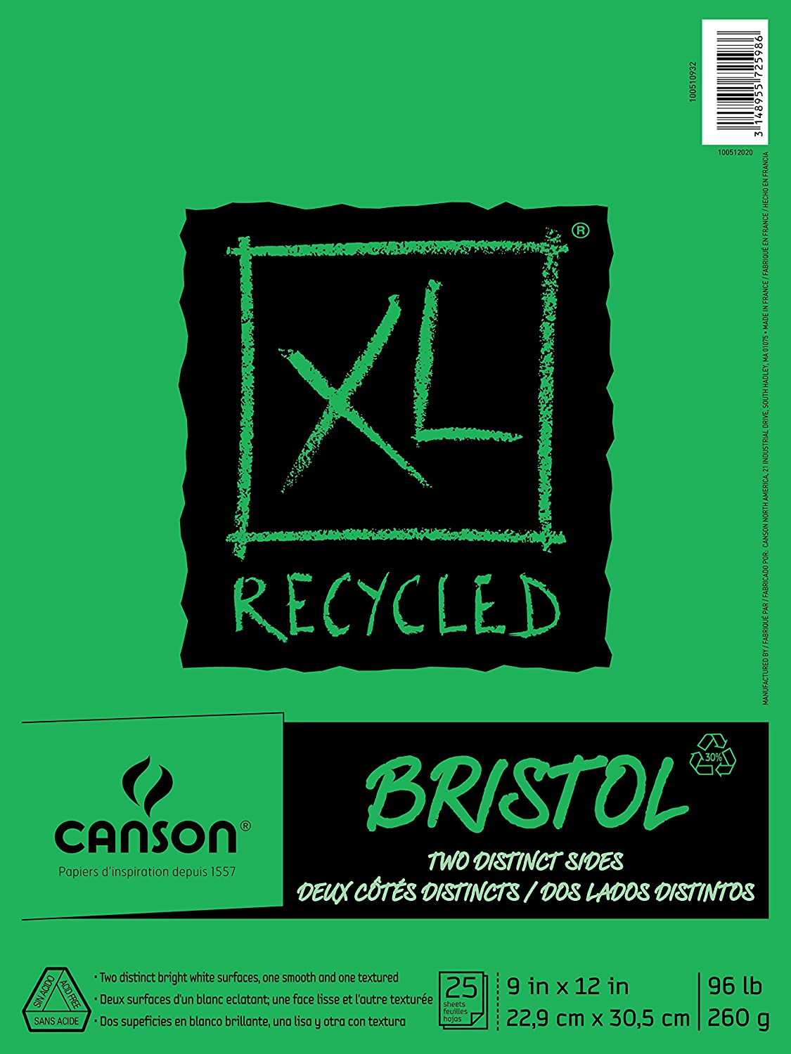 "Canson XL Series Recycled Bristol Paper Pad, 9""x12"""