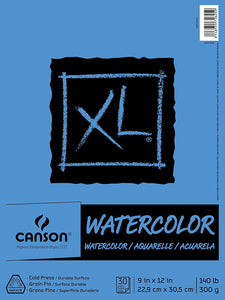 "Canson XL Watercolour Pad 9"" x 12"" , 30 Sheets"