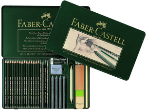 Faber-Castell PITT Monochrome Graphite TIN of 29