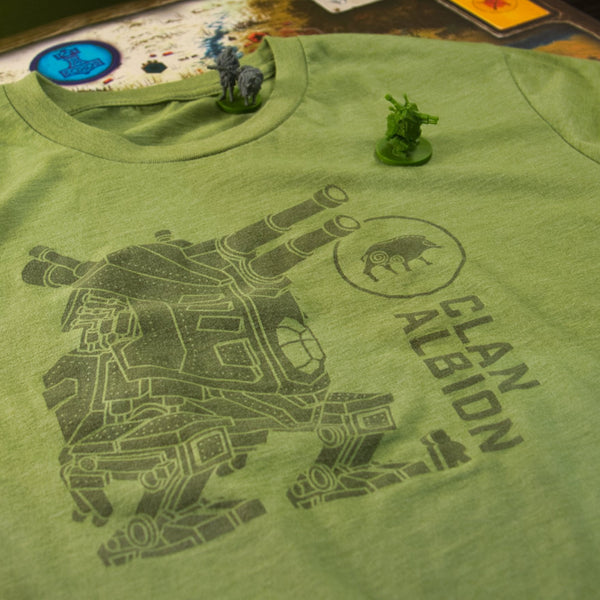 Clan Albion Scythe T-shirt final artwork and shirt result