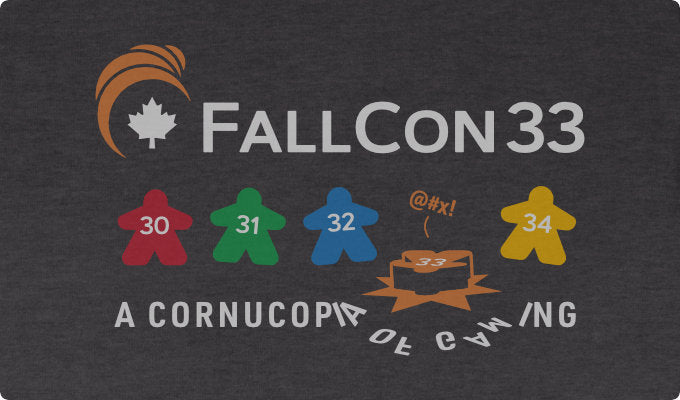 The final FallCon33 t-shirt design, meeples and all