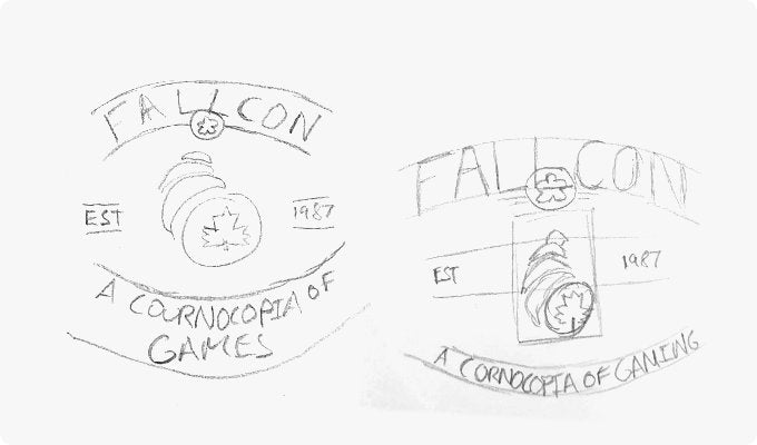 Initial FallCon 'Classic' T-shirt sketches