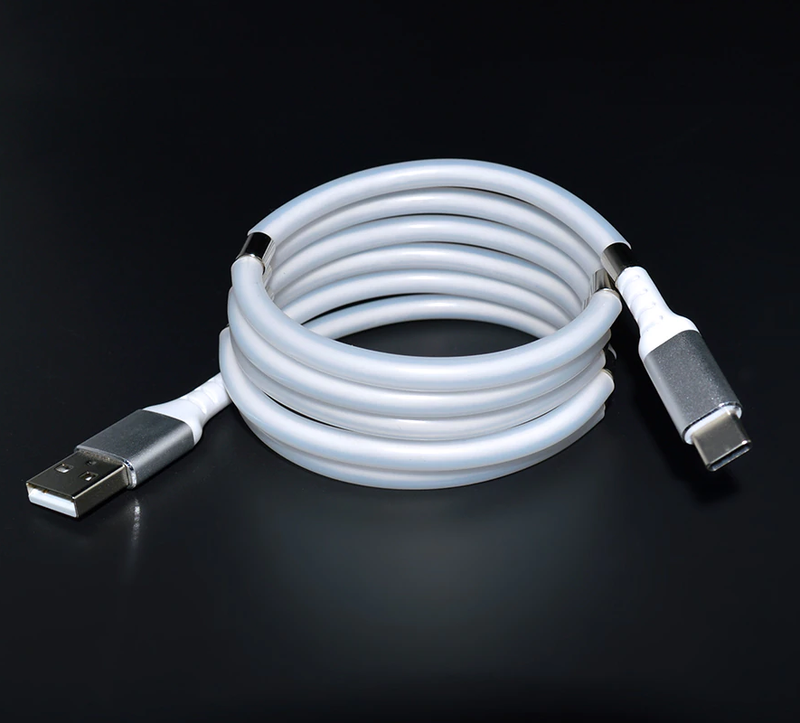 FlashWire USB to USB C charging cable coiled