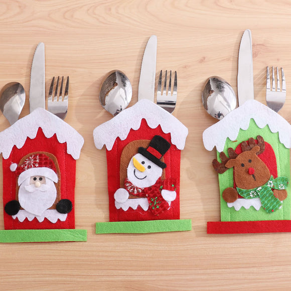 Santa Hat Reindeer Christmas Pocket Fork Knife Cutlery Holder