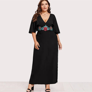 Flare Sleeve Luxury Floral Embroidery Dress