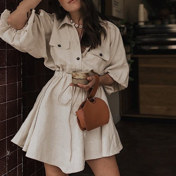 Casual Sashes Mini Shirt Dress