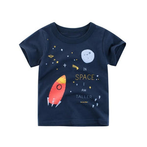Rocket Space Pattern Short Sleeve T Shirts