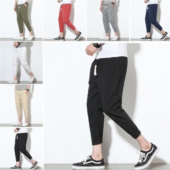 Casual Cargo Drawstring Long Trousers