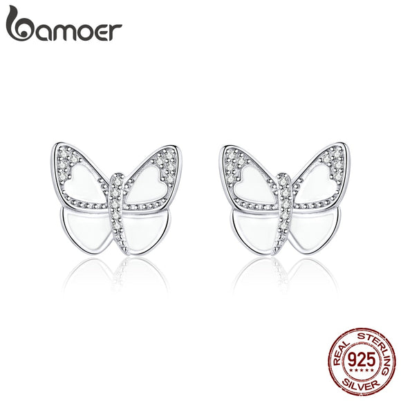 White Enamel Butterfly Stud Earrings