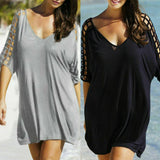 Half Sleeve V Neck Mini Dress
