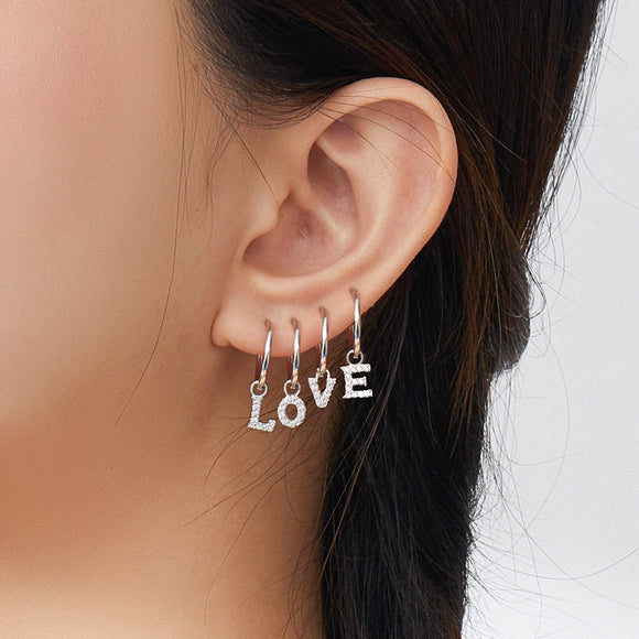 Love Alphabet Charm Earrings
