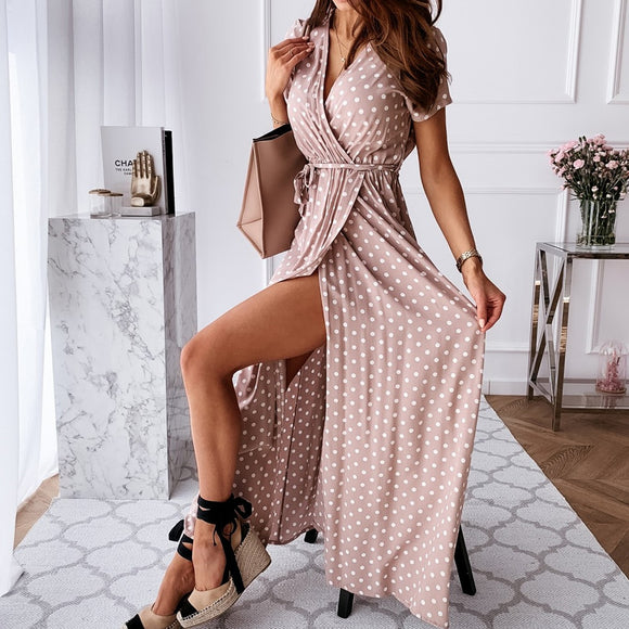 Polka Dot V Neck Summer Wrap Dress