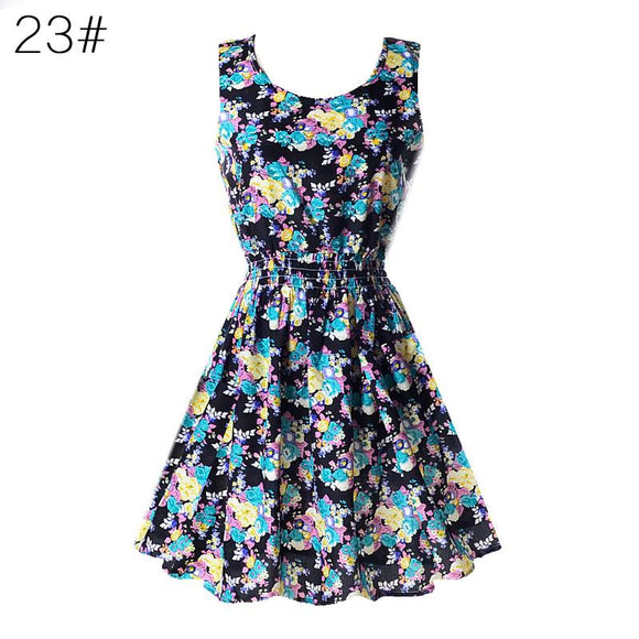 Chiffon Sleeveless Floral Sundress