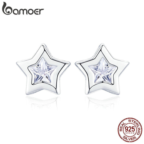 Sparkling Star Cubic Zircon Small Stud Earrings
