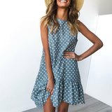 Casual O Neck Mini Polka Dot Dress