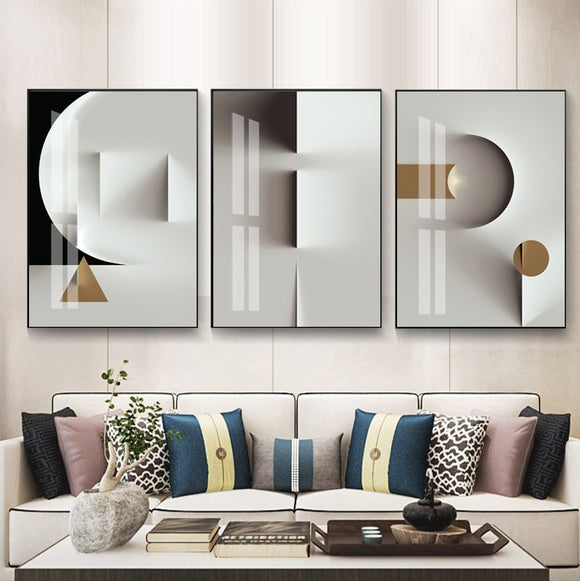 Modern Nordic Golden Stereo Canvas Painting