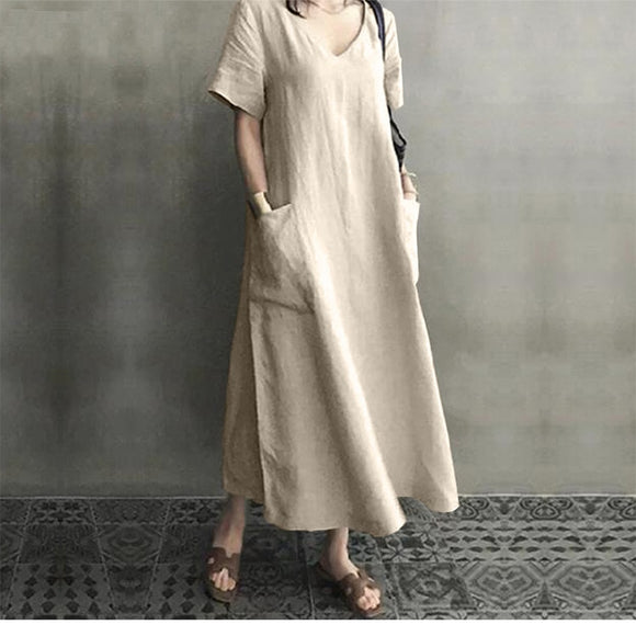 Artistic Style Retro Women's Cotton Linen Dress