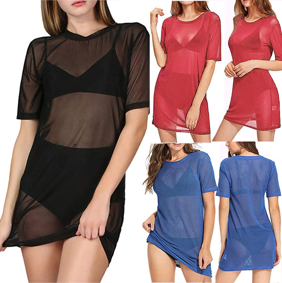 Beach Cover Ups Short Sleeve Sheer Mesh T Shirt