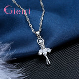 Pretty Ballet Dancer CZ Pendant Necklace