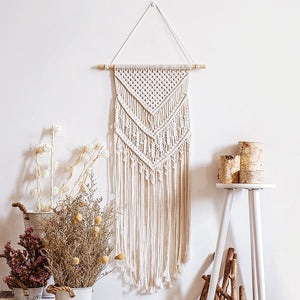 Woven Wall Hanging White Tapestry