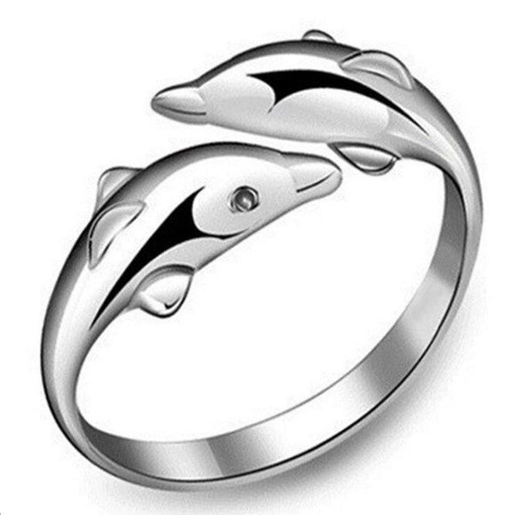 Adjustable Double Dolphin Love Ring