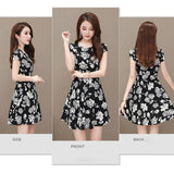 Floral Print Round O Neck Elastic Dress