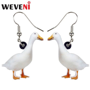 Acrylic Snowy Duck Fowl Earrings