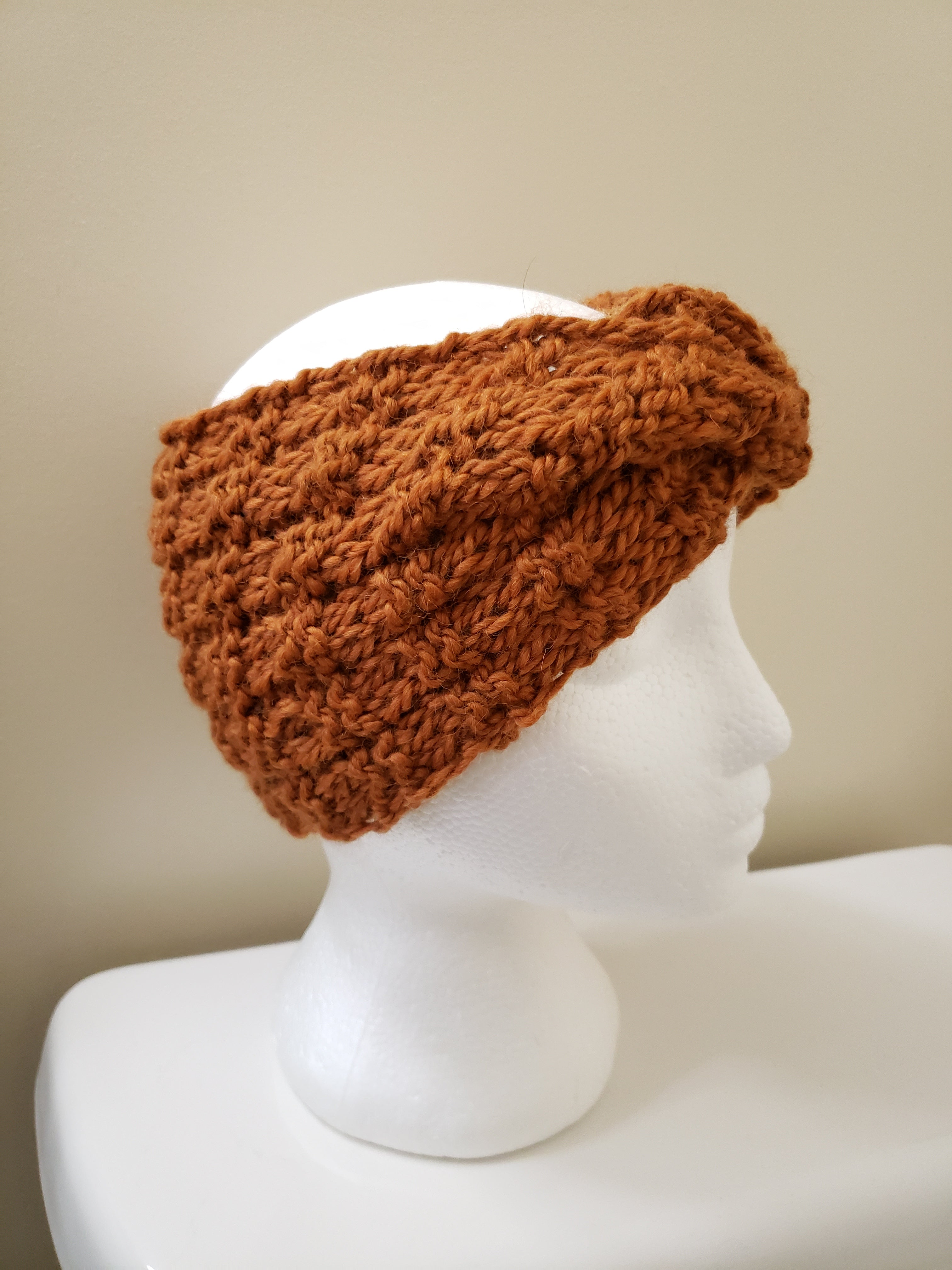 Gold Rust Knit Headband - 100% Recycled Wool