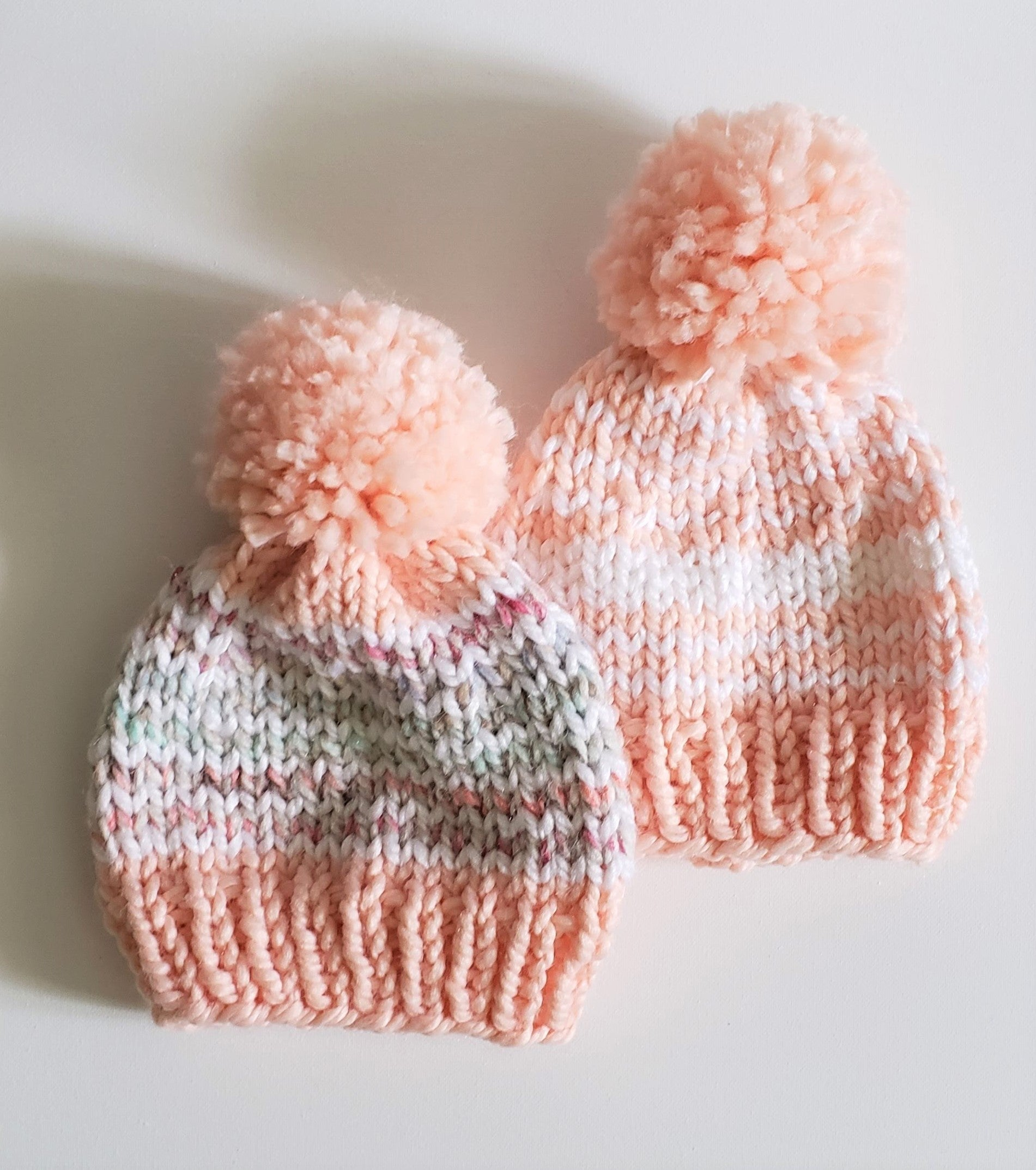Knit Beanies in Antique Pink