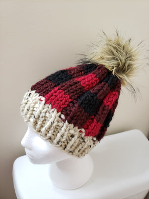 Open image in slideshow, Buffalo Plaid Knit Beanie