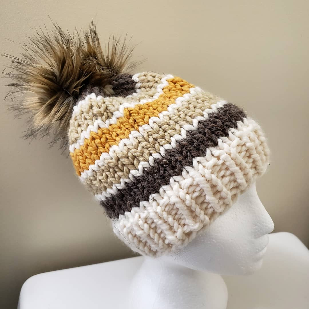 Colour Banded Knit Beanies