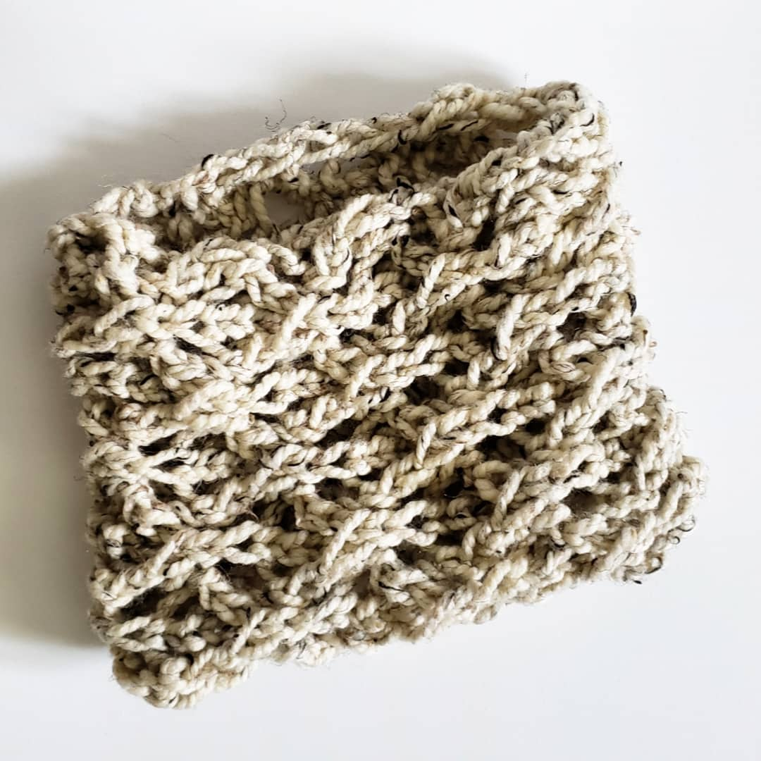 Lace Knit Cowl in Oatmeal