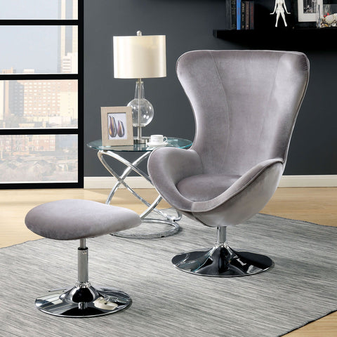 Shelia - Accent Chair w/ Ottoman - Gray