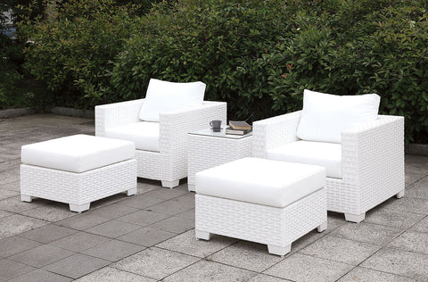 Somani - 2 Chairs + 2 Ottomans + End Table - White Wicker