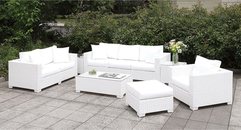 Somani - L-Sectional + Large Ottoman + End Table + Chair + Ottoman - White Wicker