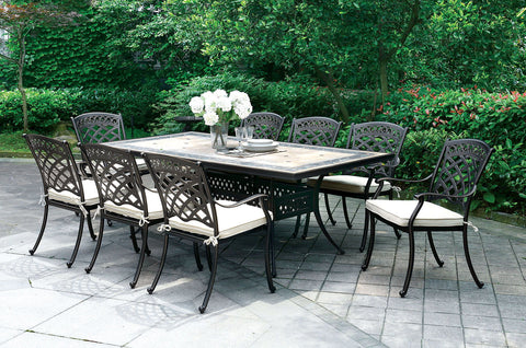 CHARISSA - Table + 8 Arm Chairs - Antique Black